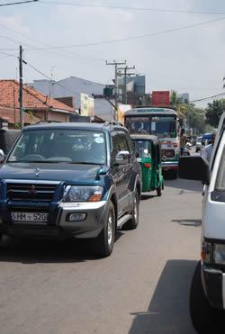 Druk verkeer in Sri Lanka